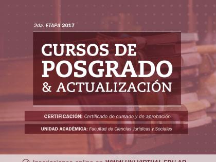 Inscripciones abiertas a la 2ª Etapa 2017 de los Cursos Virtuales de Posgrado y Actualización de Jurídicas