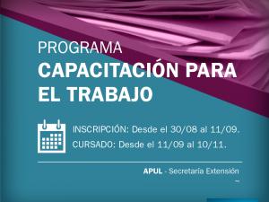 Abre la inscripción a los Cursos de Capacitación de APUL – Secretaría de Extensión (2ª etapa 2017)