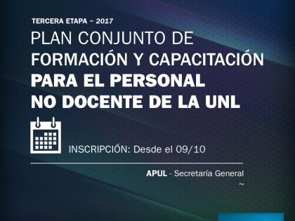 Actividades de capacitación de APUL y Secretaría General de la UNL (3ª Etapa 2017): Inscripciones abiertas