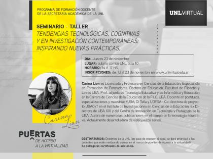 """Seminario–Taller """"Tendencias tecnológicas, cognitivas y en investigación contemporáneas: inspirando nuevas prácticas"""""""