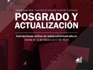Inscripciones abiertas a la 1ª Etapa 2018 de los Cursos de Actualización y Posgrado virtuales de la FCJS