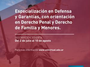 Inscripciones abiertas a la primera carrera de Especialización en Defensa y Garantías de la FCJS
