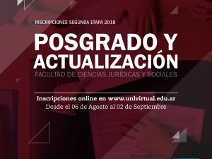 Abre la inscripción a la 2ª Etapa 2018 de los Cursos de Posgrado y Actualización virtuales de la FCJS