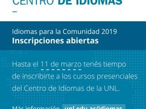 Centro de Idiomas: Inscripciones abiertas para el primer cuatrimestre 2019