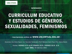 """ADUL-UNL: Abre la inscripción al Seminario """"Curriculum Educativo, Estudios de Géneros y Sexualidades, Feminismos""""."""