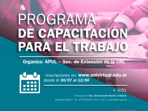 Inscripciones abiertas a la 2ª etapa 2019 de los Cursos de Capacitación de APUL – Secretaría de Extensión