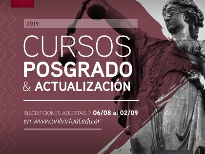 Inscripciones abiertas a la 2ª Etapa 2019 de los Cursos Virtuales de Posgrado y Actualización de Jurídicas