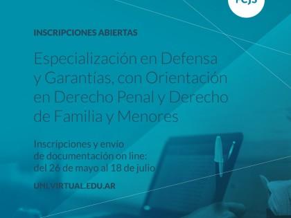 Inscripciones abiertas para la Especialización en Defensa y Garantías